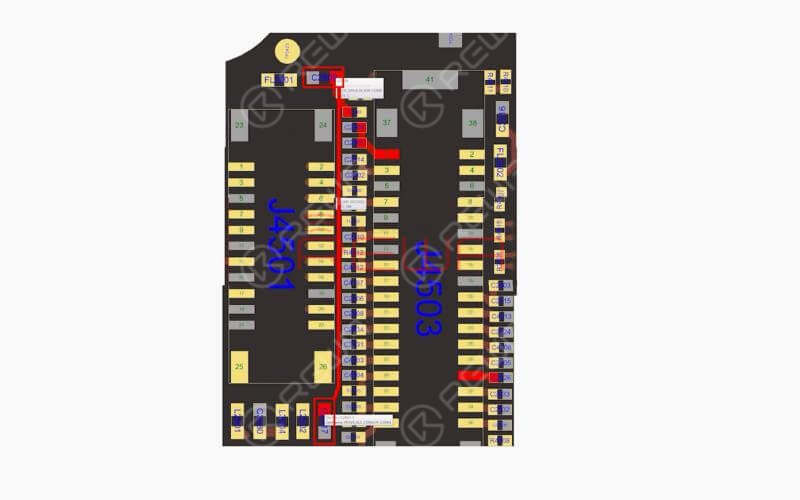 We can fix it by replacing with a new U1801 or borrow 3V voltage from other points on the board. Since U1801 is located on the backside of CPU and replacing process can cause pseudo soldering of CPU, here we will adopt the voltage borrowing way.