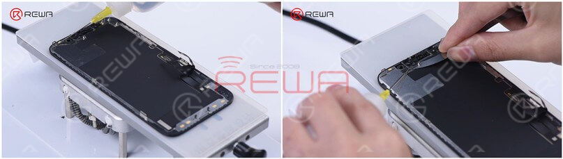Now, let's remove the bezel. Dip adhesive remover on the bezel first. While using the Razor Blade to separate the bezel, you need to dip some adhesive remover too. Slide the Razor Blade back and forth, and pry up the bezel carefully.
