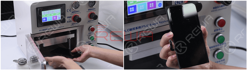 """Put the screen into the laminating machine, and press """"LCD laminate start"""". Take out the screen and we can see there are bubbles on the screen."""