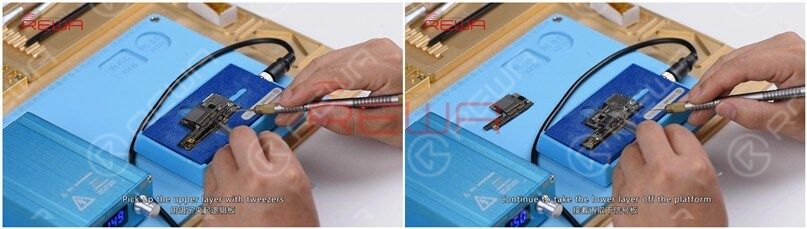 With the temperature of the platform reaching 150℃, pick up the upper layer with tweezers. Continue to take the lower layer off the platform and power off the heating platform.