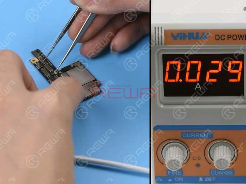 Remove the upper layer and clean with PCB Cleaner. Connect the battery connector on the upper layer with the DC Power Supply. Get the upper layer booted up with tweezers. The boot current is normal this time.
