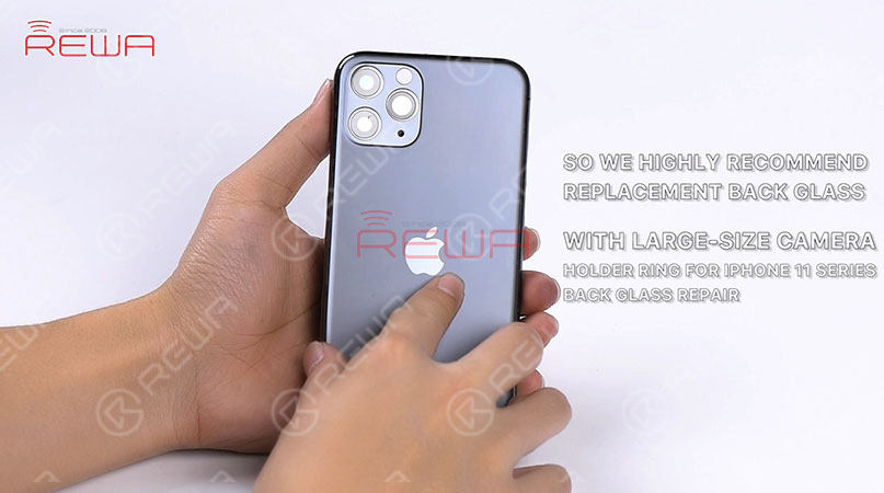The camera holder ring of iPhone 11 series is harder and comes with thick inside walls, adding to the difficulty of polishing. Meanwhile, the camera lens can also be easily damaged during polishing. So we highly recommend replacement back glass with a big camera hole for iPhone 11 series back glass repair.