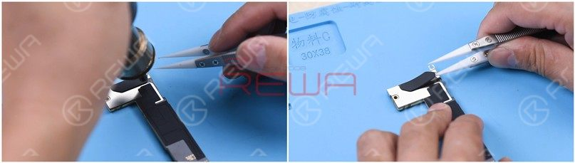 Heat the motherboard with Hot Air Gun at 180℃ and remove the plastic part.