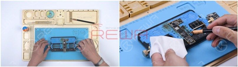 Attach the lower layer to the PCB Holder and remove the thermal grease.