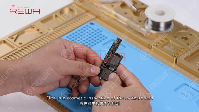 First, run a cosmetic inspection of the motherboard. The motherboard is not deformed or water damaged.