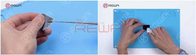 Then we remove the OCA adhesive with the Electric Adhesive Removing Tool and clean the OLED with N-hexane.
