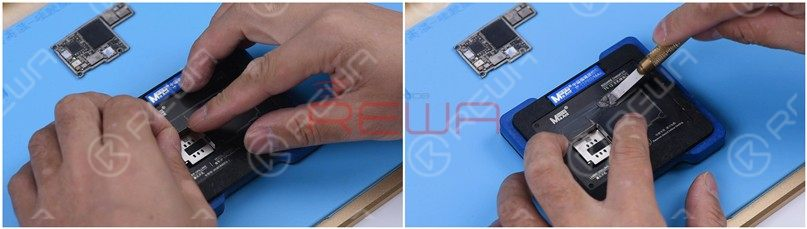 Remove tin and clean the logic board with the same method.Attach the signal board to the Reballing Platform and put the Reballing Stencil in position. To prevent the solder paste from flowing into the motherboard crevices, insert a metal plate. Apply a layer of low-temperature Solder Paste.