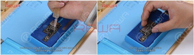 Continue to apply BGA Paste Flux to the bonding pad. Get the upper layer in position and power on the heating platform.