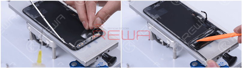 In order not to induce damage, we use a thin film to remove the flex cable part. Remove the bezel, and it can be seen that the 3M adhesive used in the bezel flex cable part is no longer the cold adhesive. The 3M adhesive makes the bezel relatively easy to remove.