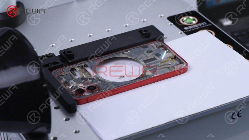 After the glass is completely removed, mark the back again to remove residual adhesive