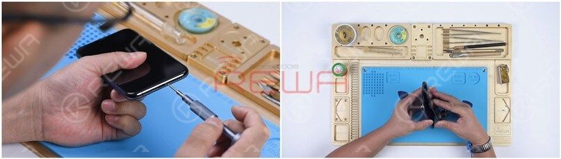 Remove the two pentalobe screws at the bottom edge and lift the screen.