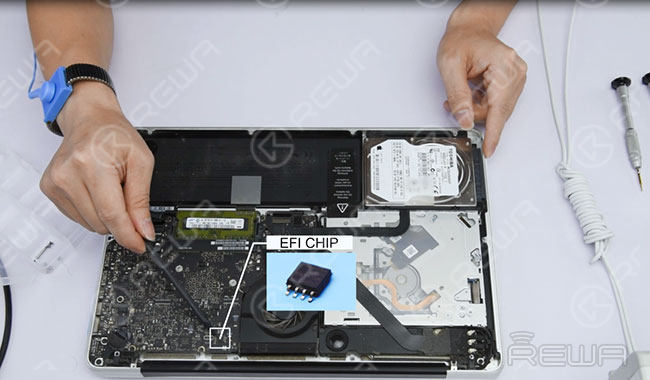 Locate the EFI chip that stores information. This chip is the key to the unlocking process.
