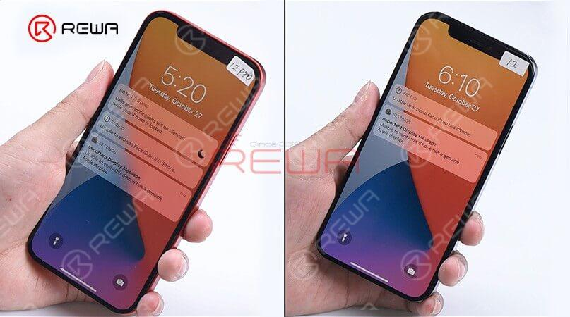 These tests prove that sensors on the ear speaker are interchangeable except for the encrypted flood illuminator of the Face ID module. The max brightness of iPhone 12 Pro becomes 809nits with iPhone 12's display while the ma brightness of iPhone 12 becomes 618 nits with iPhone 12 Pro's display. It can be seen that the max brightness of the two models not related to the display. The reason may be related to the motherboard or iOS system. Generally, the two models' displays are interchangeable.