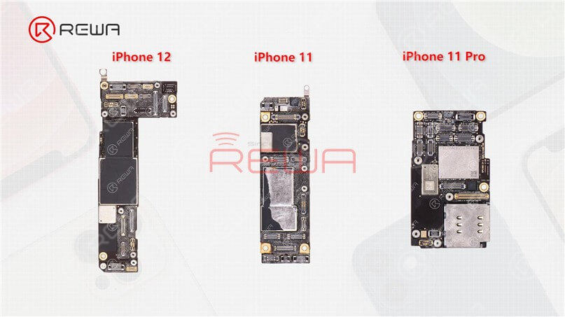 By contrast, the U.S. version iPhone will feature an extra mmWave antenna while the motherboard will have an additional mmWave antenna connector seat. In addition to differences in the outer look, the layout of the three motherboards is also different. The motherboard of the iPhone 12 is placed on the left while the motherboard of the iPhone 11 and iPhone 11 Pro is placed on the right.