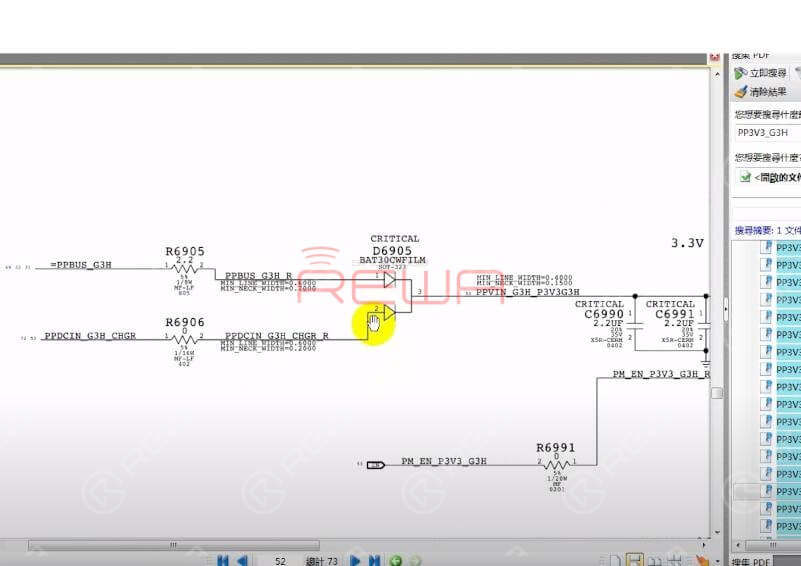 Locate D6905 with bitmap. Then locate the corresponding position of D6905 on the logic board.