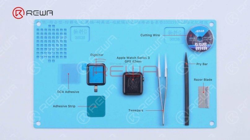 The tools and supplies needed are digitizer, OCA adhesive, adhesive strip, cutting wire, tweezers, pry bar, and razor blade.
