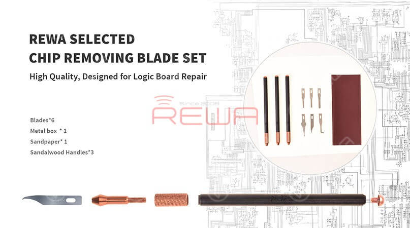 REWA Selected Wooden Handle Blade Set For Logic Board Chip Removing