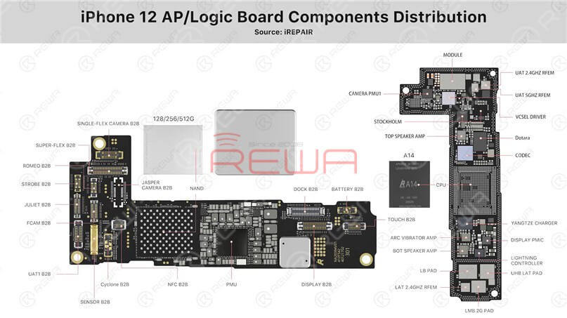 iPhone 12 logic board components distribution