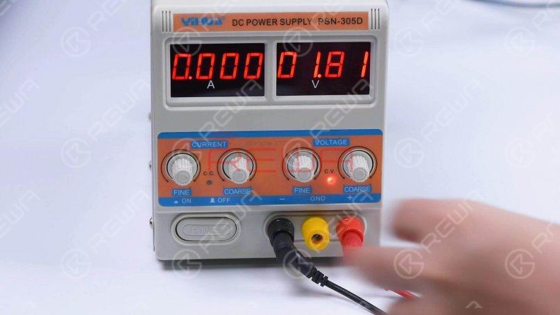 Set the direct current supply to 1.8V. Connect the positive and negative anode of the direct current supply with multimeter probes.