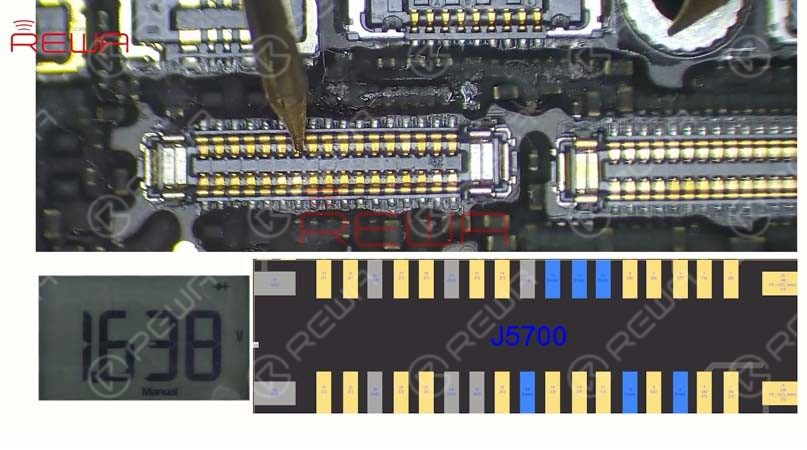 Run diode mode measurement of the display connector J5700. The measured value is normal. So the display problem has nothing to do with the display circuit.