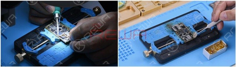Smear rosin with Soldering Iron and solder wick at 365℃ to remove tin on the bonding pad. Clean the signal board with PCB Cleaner.