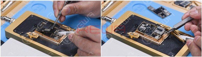 Clamp the screw to remove the logic board when the temperature has risen to 185℃. Lastly, remove the signal board.