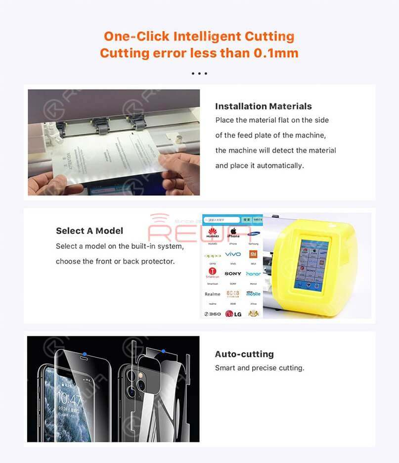 Make A Screen Protector In 15 Seconds - REFOX Screen Protector Cutting Machine