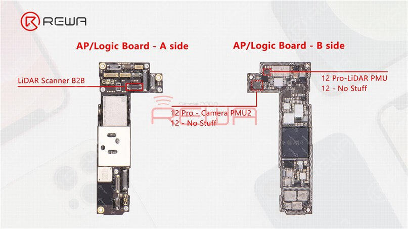As we mentioned in our previous video, the motherboard of the iPhone 12 and iPhone 12 Pro is almost identical in appearance with the double-stacked soldering. The sole difference is that the connecting part of the LiDAR Scanner on the iPhone 12 motherboard has no stuff. Beyond that, we can see two empty parts on the upper layer after separation. The two parts are additionally reserved for the Camera PMU2 and LiDAR PMU on the iPhone 12 Pro motherboard.