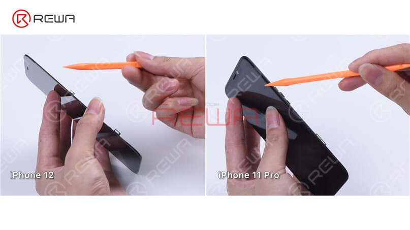 We can see that the iPhone 12 has a narrower bezel than the iPhone 11 Pro, so the iPhone 12 bezel may be a little easier to disassemble. In addition to that, the iPhone 12 bezel doesn't wrap around the glass lens anymore. Therefore, the material requirements for the bezel adhesive will be relatively high to prevent the adhesive from falling off. To dig deeper, we will refurbish the iPhone 12 screen.