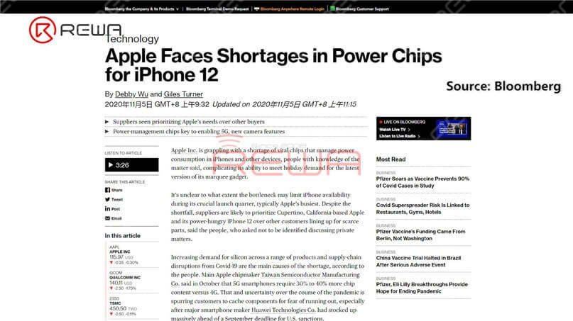 According to Bloomberg, Apple is said to face shortages in power chips for iPhone 12. Power management is more important in the iPhone 12 than for its predecessors given additional camera features and 5G capabilities, increasing Apple's need for these parts.