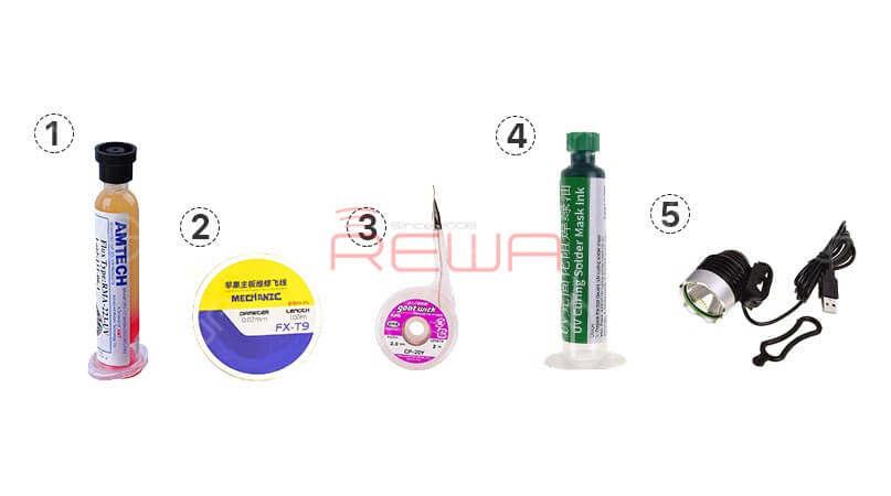 1.BGA Flux Paste 2.Solder Wire Kit 3.Desoldering Wick 4.UV Curable Solder Mask 5.USB Ultraviolet Light UV Glue Curing Lamp