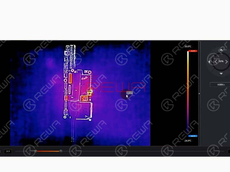 Put the motherboard under the Thermal Imager. Get the motherboard powered on. We can see clearly that C2647 is extremely hot. Judging by this, C2647 is probably damaged.