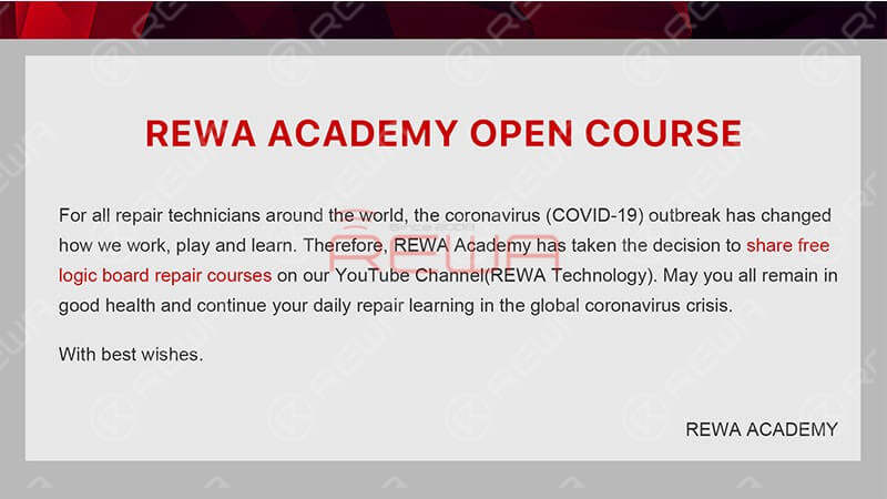 And here are some good news. REWA Academy has taken the decision to share free logic board repair courses on our YouTube Channel(REWA Technology). And we will walk you through the work-flow of iPhone X Boot Circuit.