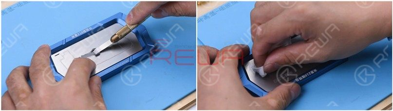 Apply some middle-temperature Solder Paste and wipe residual Solder Paste with lint-free wipe.