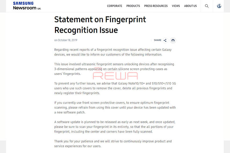 Earlier this month, according to The Sun reported that the Samsung Galaxy S10's in-display fingerprint sensor has a security flaw. Some silicone screen protectors may confuse the ultrasonic fingerprint sensor. If you currently use this kind of covers, please refrain from using it until your device has been updated with a new software patch, according to Samsung's official statement.