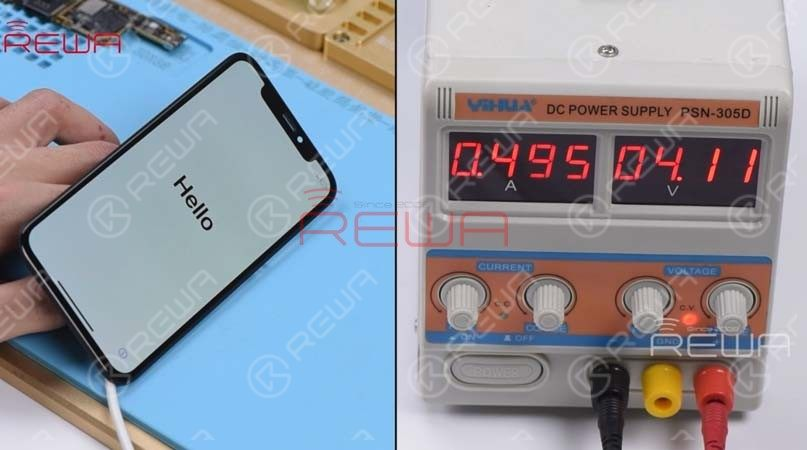 Try to connect an iPhone XS display assembly with the upper layer and connect the battery connector with the DC Power Supply. Get the upper layer powered on with tweezers. The phone turns on normally with a normal display. The phone can access the activation screen and the boot current is also normal this time.