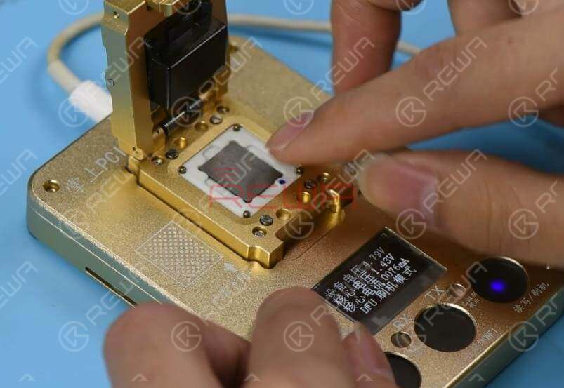 Continue to apply Paste Flux to the detached NAND flash chip and clean the NAND flash chip with the Soldering Iron. Place the NAND flash chip into the PCIE Programmer and run the software to complete WiFi unbinding. Once done, take out the NAND flash chip.
