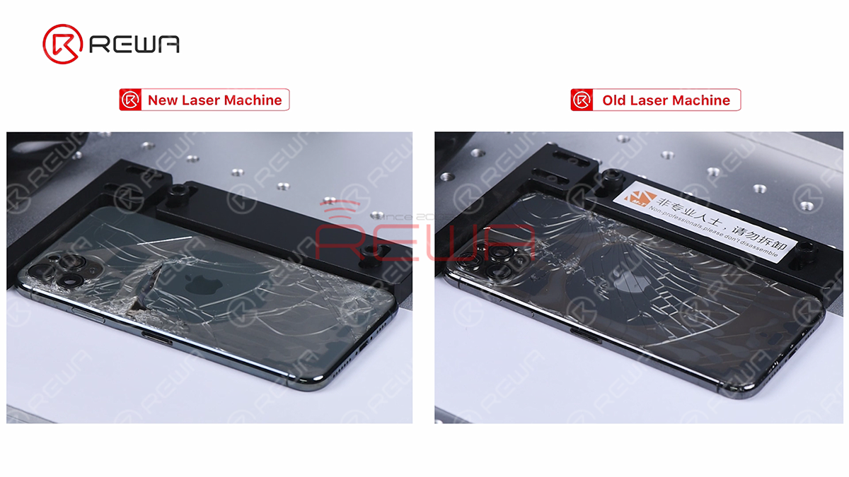 The following step is to get all parameters set and turn on laser aiming function. Then we click 'Mark' to scan the back glass with the laser light. Then we can see the back glass becomes transparent after laser scanning.