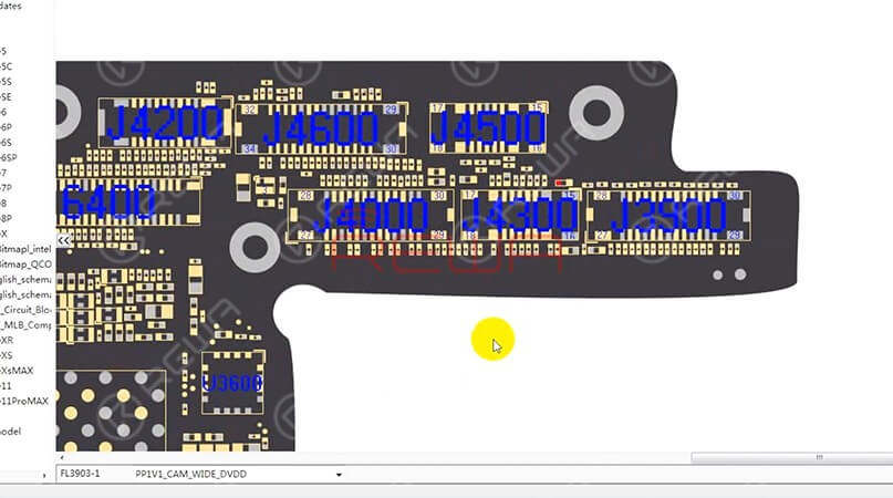 Next we need to open the point map and find the relevant component information. Here we recommend using REFOX. A concise and smooth bitmap software that provides reliable schematics and board files for Apple/Samsung/Huawei (so far) motherboard repair.