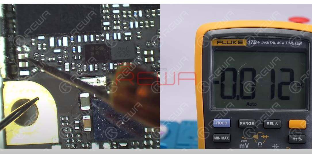 Next, let's continue with the signal amplifier power supply voltage, VPA_APT. Measure the voltage value of corresponding capacitor, C4108. There is no voltage value. Normal voltage value should be 3V7.